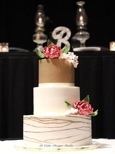 Fondant Wedding Cake With Gold Luster