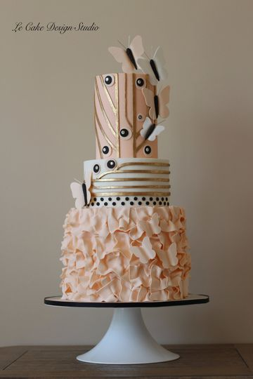 Fondant Cake With Ruffles, Gold And Gum Paste Butterflies