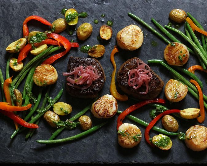Surf 'n Turf / filet, seard scallops, haricot verts, roasted potatoes, pickled red onion - previous...