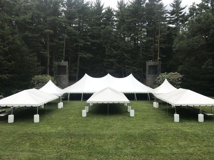 Tents in an open field