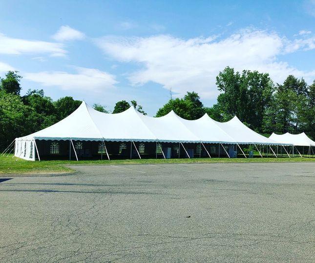 Large open tent set-up