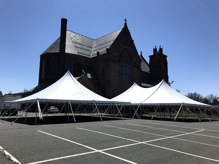 Tent set-up in parking area