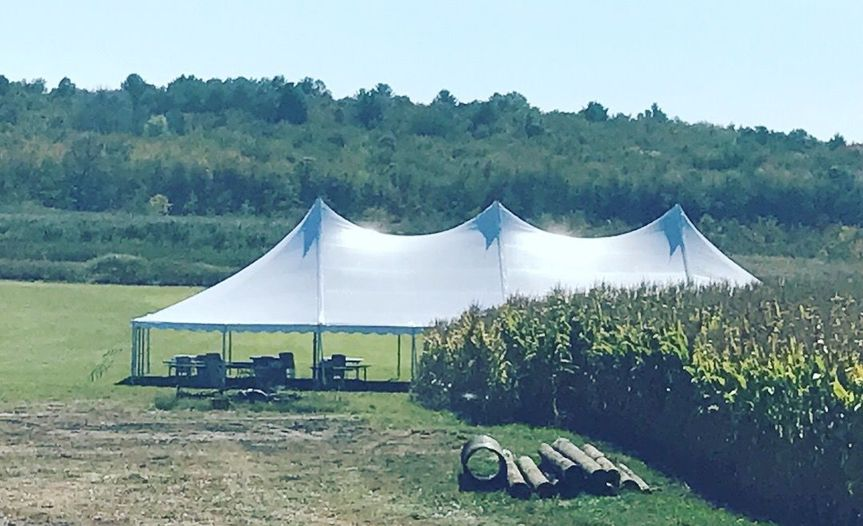 Tent set-up in a field