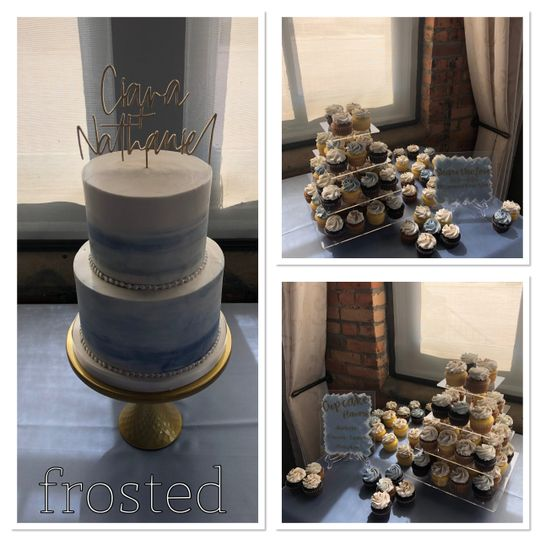 Ombre Dusty Blue Cake