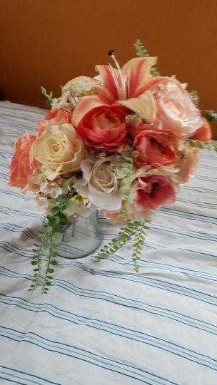 Coral cascade bridal bouquet