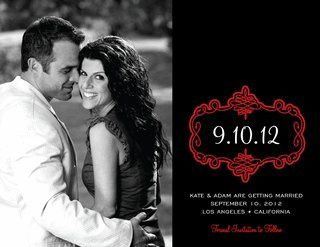 Swirl Bookplate Red Photo Save the Date Cards by Noteworthy Collections