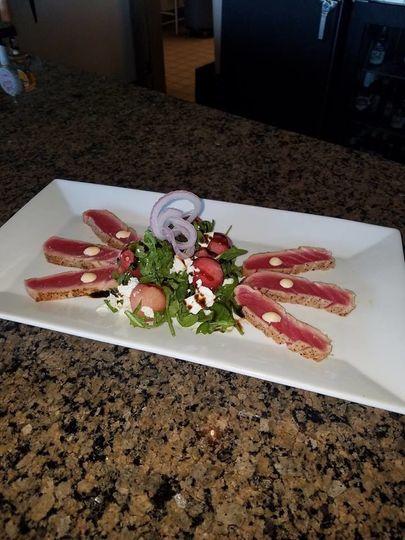 Arugula & Watermelon Salad with Seared Rare Tuna