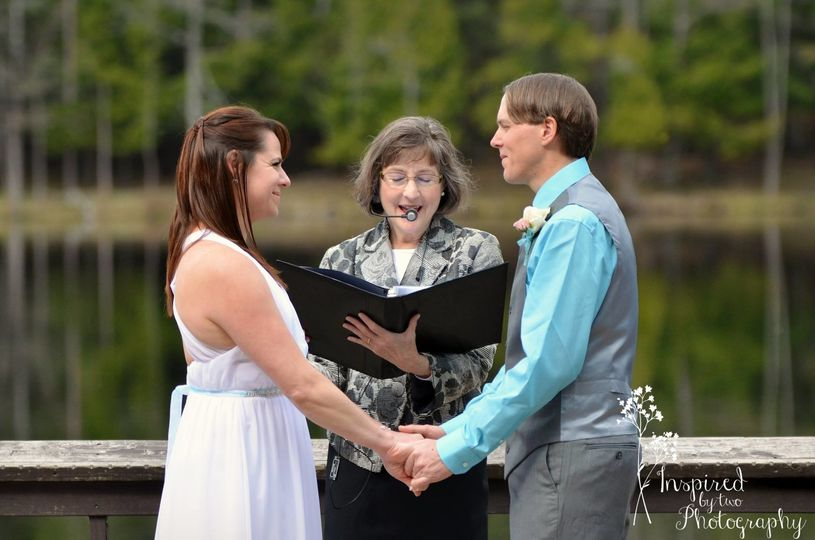 Officiating a lake front wedding