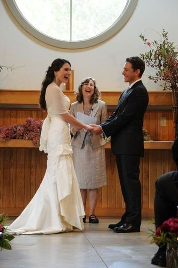 Sharing laughs at the wedding