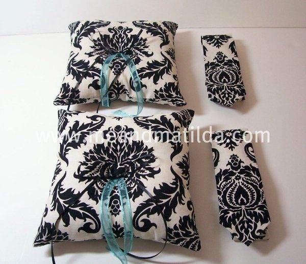 Two Ivory and Black Damask Ring Bearer Sets. Each set includes one Me and Matilda Everyday Necktie...