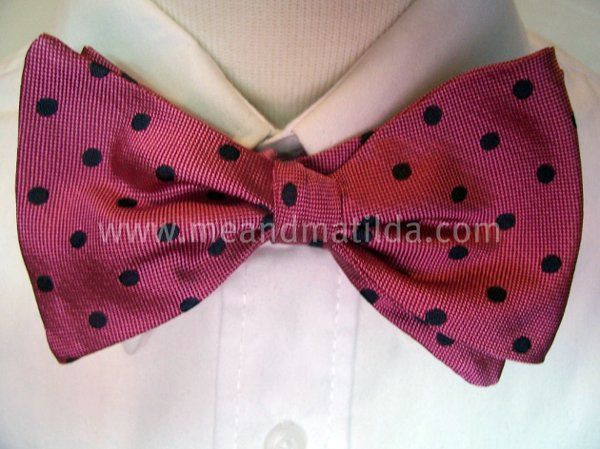 Pink and Black Silk Freestyle Bow Tie