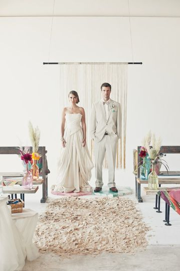 confetti isle, silk dye dipped backdrop, flowers by Charlie and Olivia