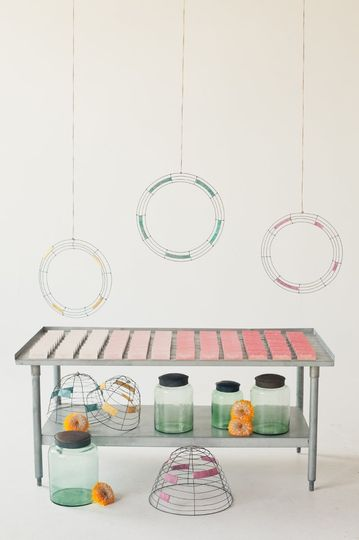Handmade mobile chandeliers and hand painted flowers