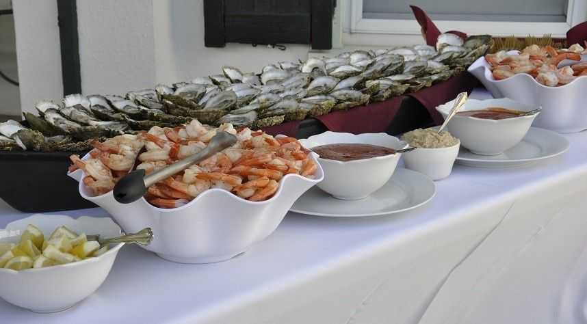 Cape cod seafood display and raw bar
