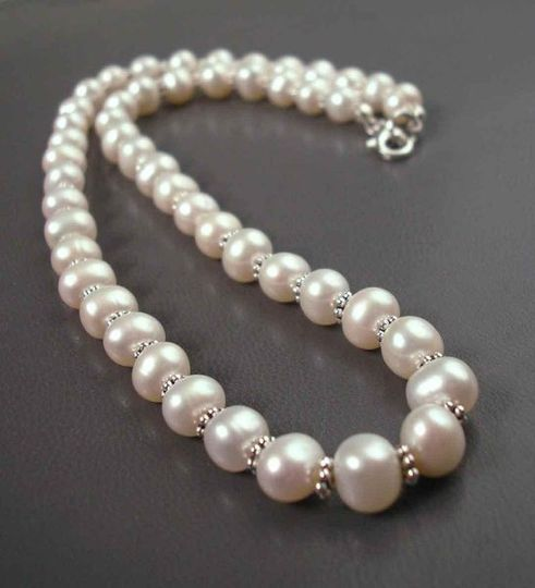 16inch 8mm White Cultured Freshwater Pearl and Sterling Silver Necklace available at JandJbridal