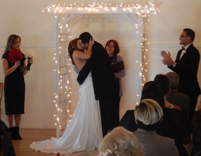 Newlyweds kiss at Pedro Pt.