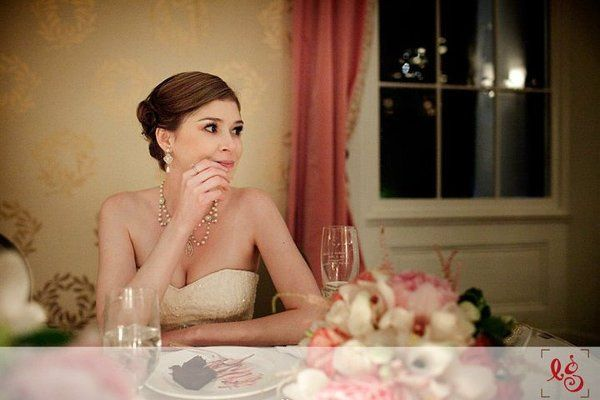 Bride at her table