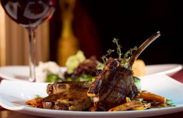 Wedding Entree Selection- Grilled Veal Chop with Roast Fall Vegetables, and Borolo Demi.