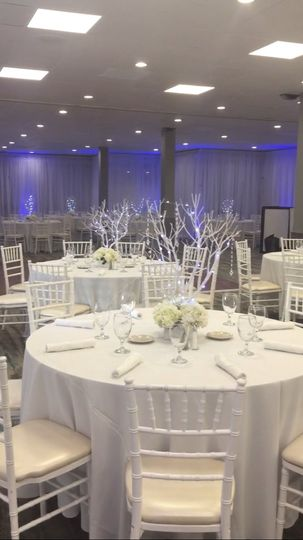 White winter party ballroom