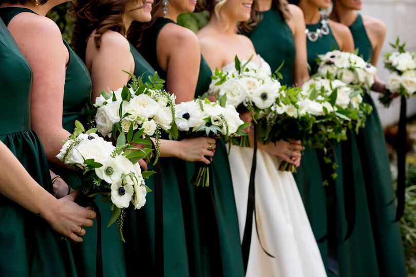 Green, black and white bouquets Jessica Hill Photography