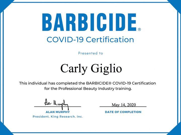 Tmx Barbicide Certificate 51 558480 158976279496338 Woodbridge, New Jersey wedding beauty