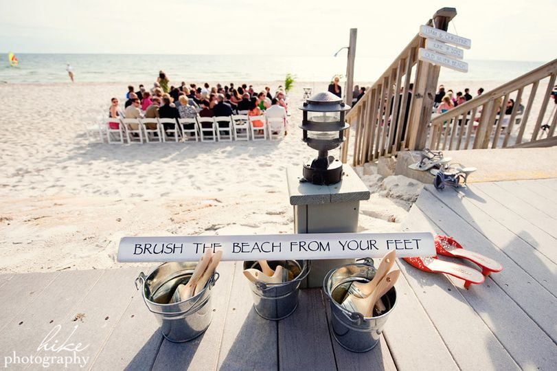 Beach wedding ceremony area