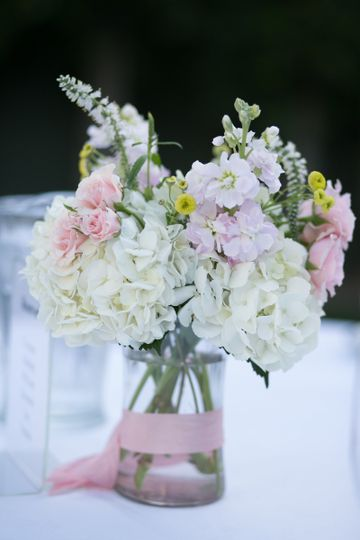 Centerpieces of Hydrangea, Spray Roses, Stock, Button Yarrow, and Veronica