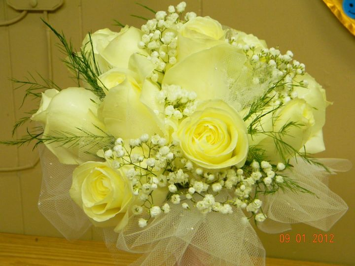 All White Rose bridesmaid Bouquet.