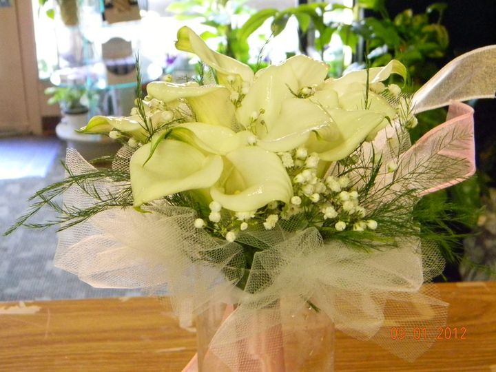 White Mini Calla Lilies Bridesmaid Bouquet.