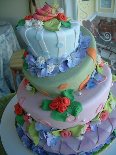 Fondant covered topsy layers with sugarpaste & fondant flowers.