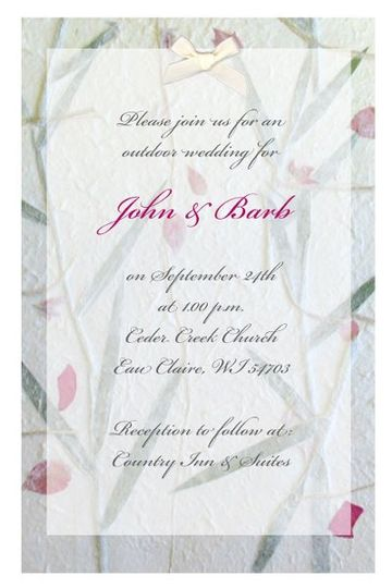 Personalized invitations printed on handmade mulberry paper.  Completely assembled.  Unbelievably...
