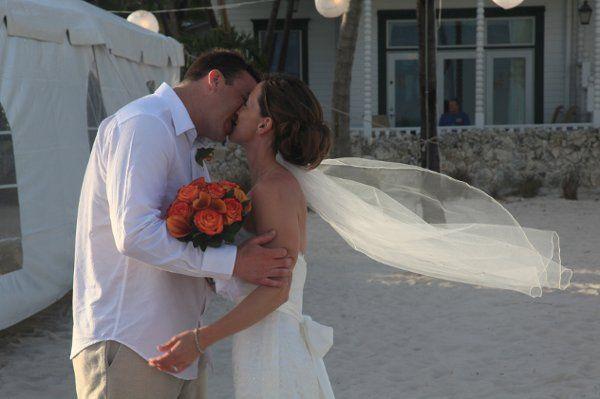 Intimate wedding ceremony on the beautiful beach in Key West, FL