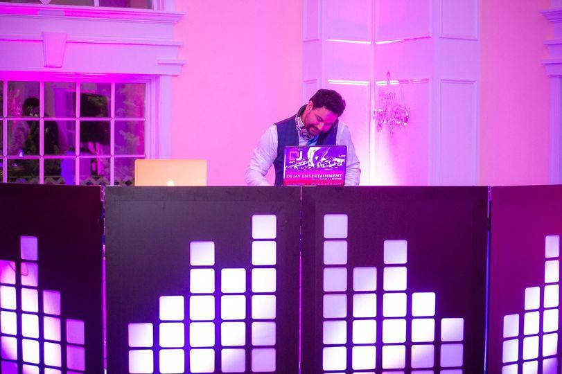 DJ with violet lights
