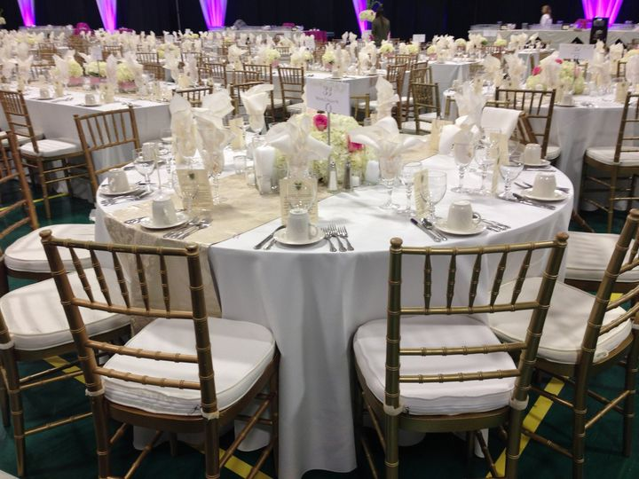 Gold Chiavari Chairs, Glassware, Flatware, Stemware, Linens, Tables, and more - Century Party Rental...