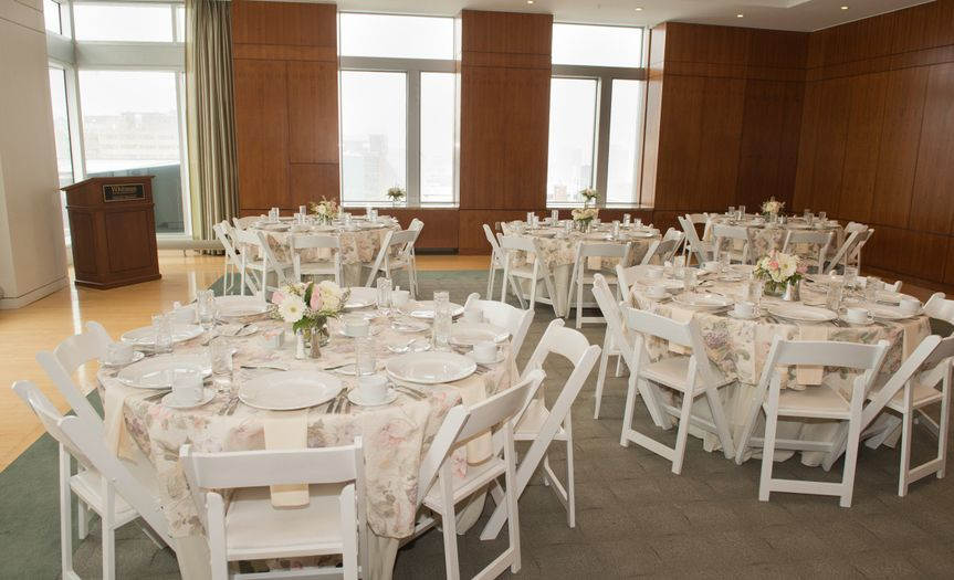 White Wood Padded Chairs, Flatware, Linens, Tables, and more - Century Party Rental - Syracuse, NY