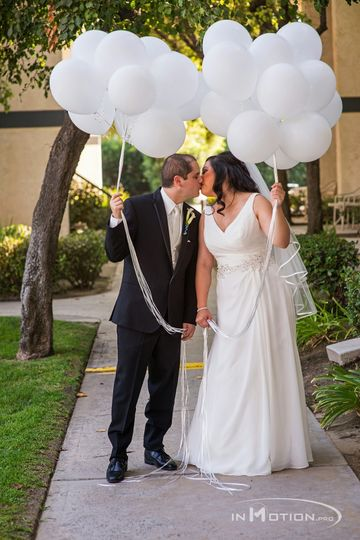 Groom and bride outdoors