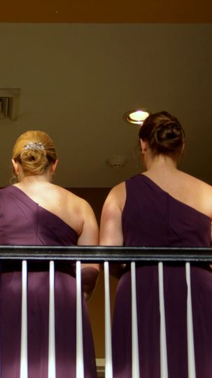Bridesmaids by the balcony