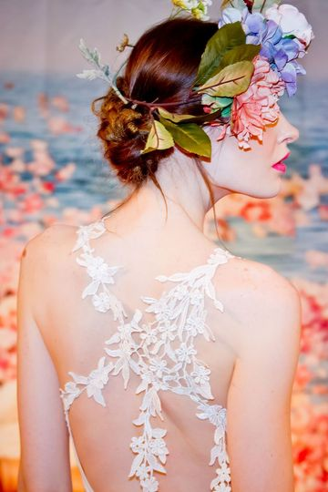 DEVOTION  Ivory floral embroidered mermaid silhouette with ivory linen and guipure vine straps.