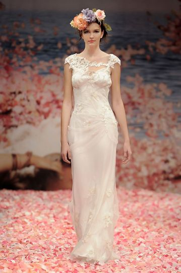 ADAGIO  Draped ivory olive branch embroidery with pearl silk and jeweled guipure vine...