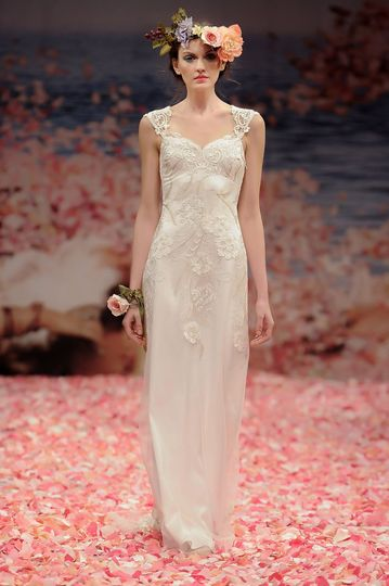 ALMA  Ivory floral embroidery with pearl silk and guipure embellished neckline and back.