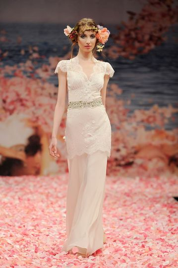 ad000a61cd4 BEAUTY Ivory beaded lace bodice and linen skirt with pink and green jeweled  keyhole back.