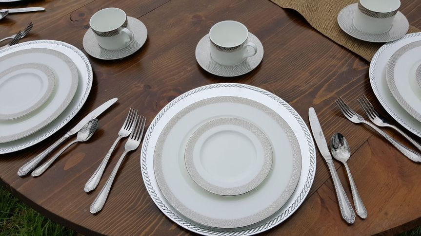 Full service packages include -china-glassware-silverware -tablecloth linens-napkins at no charge
