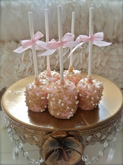 Pink and Gold Chocolate Dipped Marshmallows