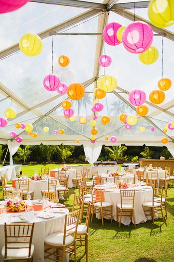 colorful lanterns and table