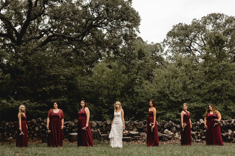 Burgundy wedding, bridesmaids