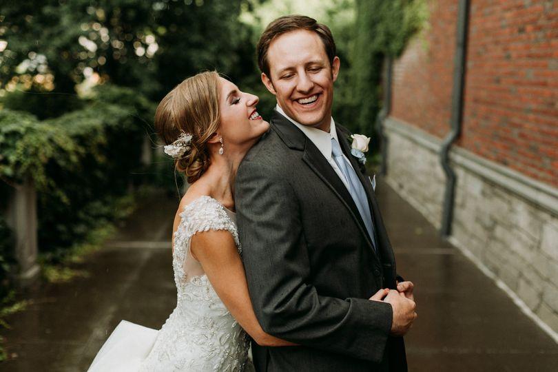 Bride, groom, up-do