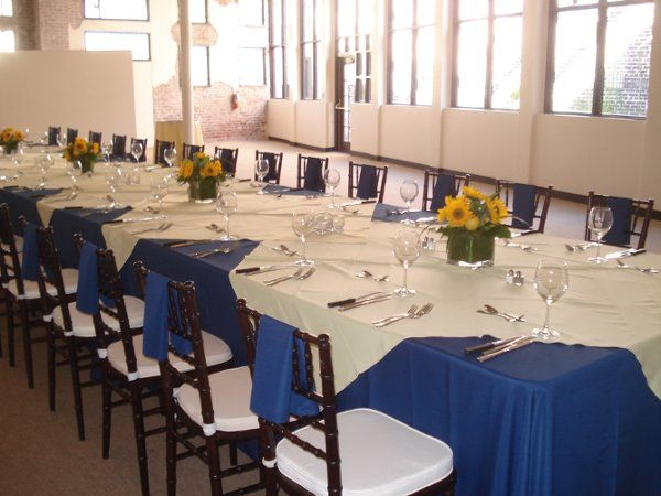 Blue and white table cloths