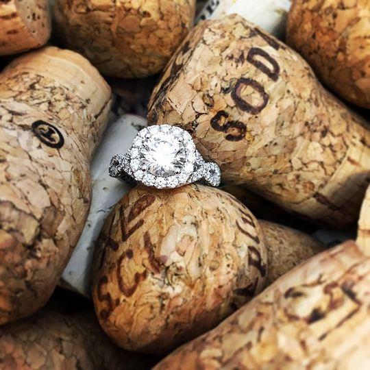 Diamond ring between corks