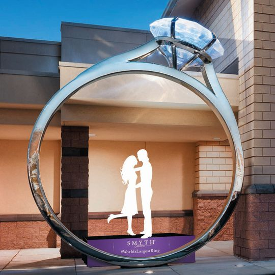 Giant ring at storefront