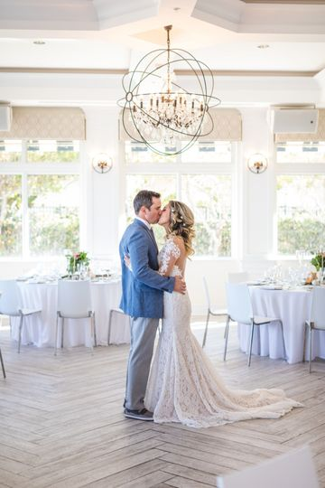 Kissing couple in the reception